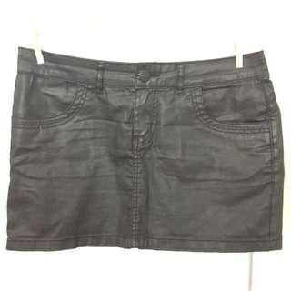Mini Skirt With Waxed Finish