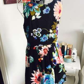 Floral Dress with Lace Back