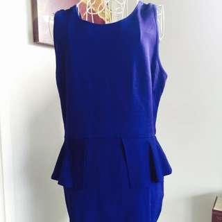 Blue Dress with waist peplum size 12