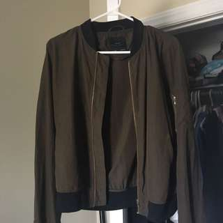 Zara Medium Military Green Bomber Jacket