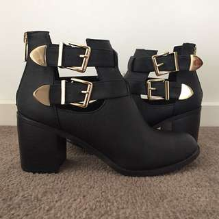 Black Ankle Boots with Gold Buckles