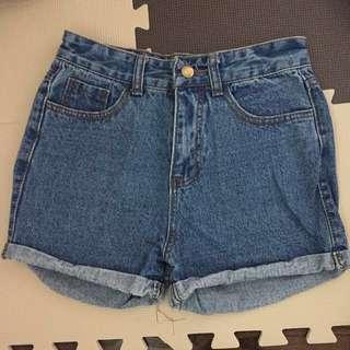 REDUCED* High-waisted denim shorts