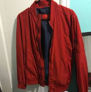 Zara red bomber jacket