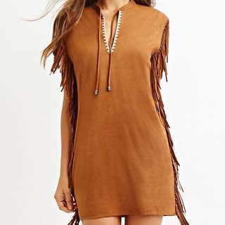 Forever 21 Fringed suede dress in brown
