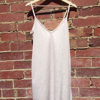 SEMI-SHEER LIGHT PINK SLIP DRESS