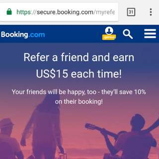 Invite and earn up to US$150 thru Booking.com!