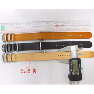 Leather 20mm Military NATO Style watch strap - 20mm NATO Style 軍錶型皮錶帶