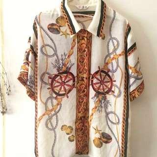 降*早期 復古 古著 航海 鎖鏈 襯衫 宮廷 巴洛克 海星 貝殼 透 雪紡