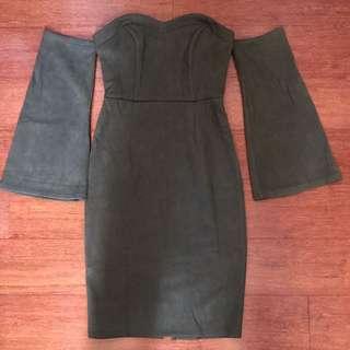 Luvalot khaki bodycon dress size 8