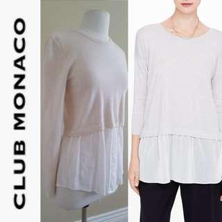 CLUB MONACO Madie Ivory Wool Silk Layer Crew Neck Sweater, EUC, US Medium