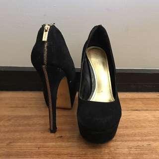 Aldo black suede leather heels