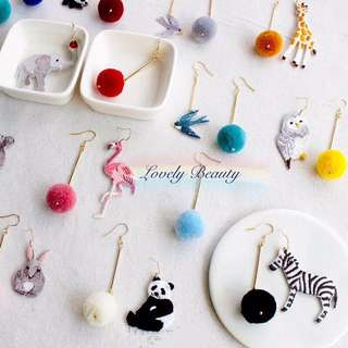 Buy3get1free 😍Handmade animals pom pom earrings