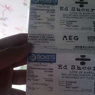Ed Sheeran Concert Gold Ticket