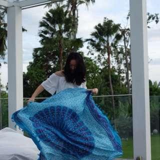 BALI TAPESTRY - light blue scarf / Sarong