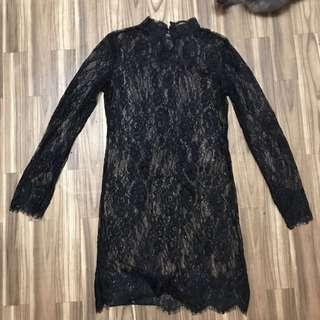 Turtle Neck Lace Dress