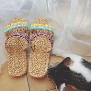 古著 普普風 鄉村 可愛 涼鞋 拖鞋