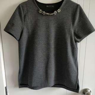 SEED embellished neckline top