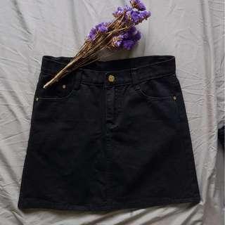 #FreePostage Black Denim A Line Skater Skirt
