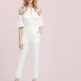 BRAND NEW Keyhole Front Flower Patched Trumpet Sleeve Jumpsuit
