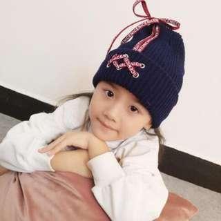 🚚 ~瀅瀅小鋪~(商品編號BH5101)親子款鞋帶帽 秋季新款 閨蜜帽 毛線帽子 時尚 童帽 保暖針織帽