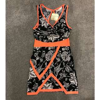 Blossom Orange/ Black Print Dress - New with Tags Size 8