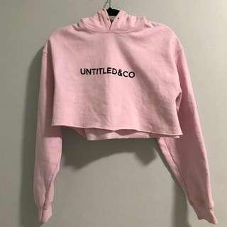 Untitled&Co Pink Crop Hoodie with Black Logo
