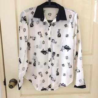 *特價* 滿版兔子雪紡襯衫