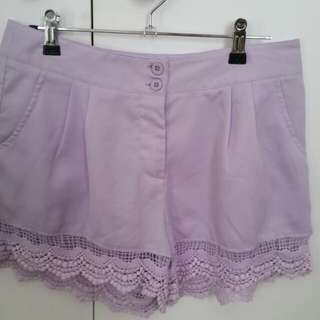 Paper Scissors Purple lace shorts size small