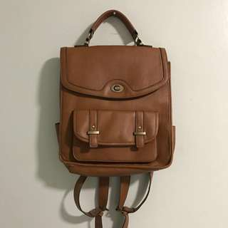 Vintage Brown Real Leather Big Backpack