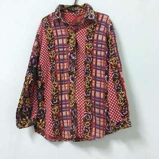 Vintage 絨布古著花襯衫