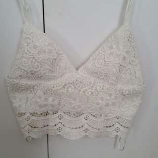 Ava and Ever cream lace crop