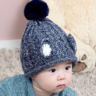 🚚 ~瀅瀅小鋪~(商品編號BH5151)耳朵造型毛球帽 貝貝韓峰秋冬款 兒童帽子 護耳帽 寶寶毛線帽 保暖帽