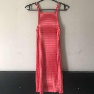 Striped Orange Halter Mini Dress- XS