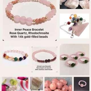 Rose Quartz Crystals (Ring, Bracelet, Raw, Tumbled, Heart, Love, Pendulum, etc)