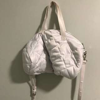 Forever 21 White puffy Satin gym bag
