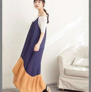 Tiff 拼接雪紡魚尾裙 藍