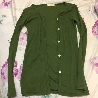 綠色薄針織外套 #外套特賣