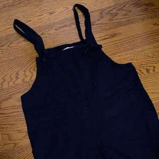 轉賣OB嚴選俏皮休閒彈性扭結寬鬆連身吊帶長褲-黑XL