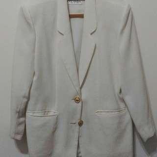 🚚 古著 白色西裝墊肩外套