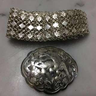 Antique Peranakan Nonya Nyonya Silver Belt & Buckle