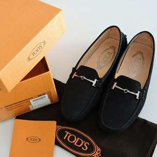 🚚 2016年購買 專櫃真品 TOD'S 重深藍色磨砂麂皮牛皮豆豆女鞋 34.5號 豆豆鞋