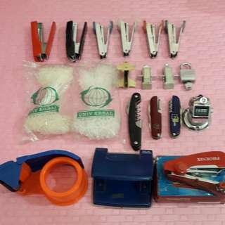 6Staple,2packLoopLock,3StapleRemover,PadLock,3MultiPenKnife,TimerCounter,TapeHolder,HolePuncher,MiniSewingKit