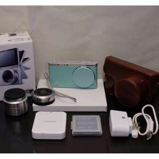 Samsung NX mini 薄荷 綠 超 迷你 輕 薄 可換 鏡頭 微單眼 + 9mm + 9 - 27mm 雙鏡組