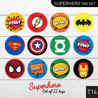 [24pcs] Round Superhero Toppers or Tags for your little ones!