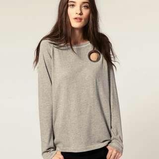Cheap Monday Cotton Grey Cutout Eye Sweatshirt Sweater