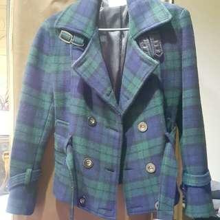 🚚 格紋毛料外套