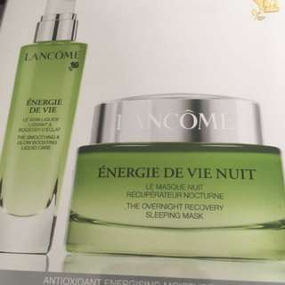 Lancome glow boosting liquid care and overnight sleeping mask
