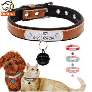 Free Engraving Personalized Leather Dog Collars Adjustable Padded Customized Pet Name ID Collar For Small Medium Large Dogs Cats