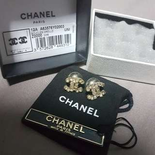 Authentic Chanel CC Earrings Boucles Oreille