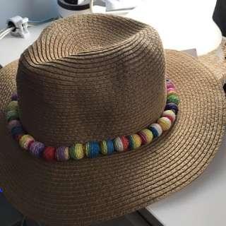 彩色珠珠草帽#旅行用#西部牛仔feel